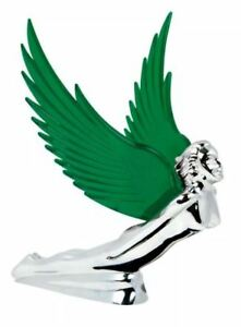Hood Ornament Flying Goddess Chrome With Green Windrider Wings Peterbilt Kw Fl