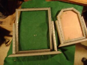Lot Of 2 Antique Carved Wood Tilt Swing Picture Frame Art Deco Origial Silver