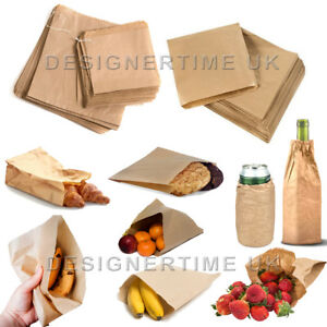 Brown Kraft Sulphite Strung Food Sweets Sandwich Grocery Fruit Lunch Paper Bags