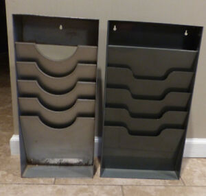 Two 4 Slot Vintage Metal Wall File Paper Organizers Industrial Steampunk