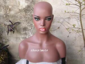 Fiberglass Female Mannequin Head Bust For Wig Jewelry Hat Display