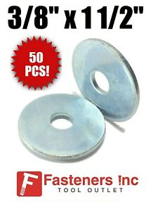 qty 50 Pcs 3 8 X 1 1 2 Od Extra Thick 125 Zinc Plated Heavy Fender Washers