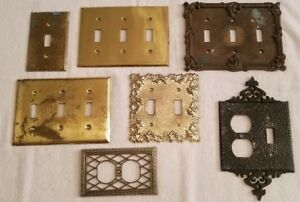 7 Vintage Light Switch Plate Outlet Covers Ornate Misc Brass Metal