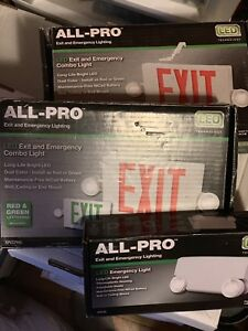 2 All pro Exit Emergency Light Sign Led 2 Color Red Green Extra Light Lot New
