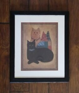 Large Cat Picture Wall Hanging Art Library Country Rustic Primitive Farmhouse