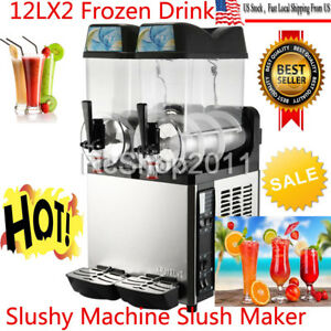 2 Tanks 24l Commercial Frozen Drink Slush Slushy Machine Margarita 2 cylinder Us