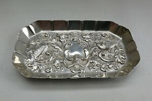 Vtg 1889 William Comyns Solid Silver Floral Bird Dressing Table Coin Dish Tray
