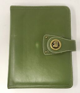 Franklin Covey Green Full Grain Leather Desk Planner 7 Rings Binder 1 25 Ring
