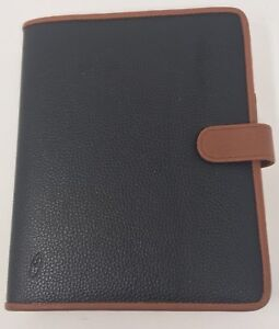 At A Glance Cobbled Black Leather Organizer With Brown Trim 3 Rings 1 Ring