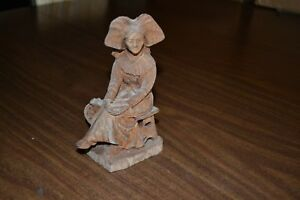Old Wooden Look Carved Statue Of Girl On Bench With Spinning Wheel Folk Art