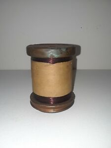 Vintage Wood And Copper Spool Of Enameled Magnet Wire By American Steel