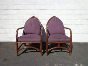 2 Rattan Chairs Chinoiserie Chinese Chippendale Vintage Bohemian Boho Beach Seat