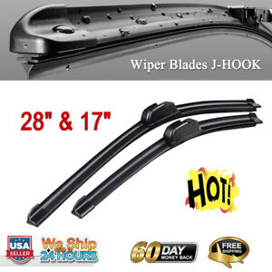 17 28 Inch Pair Bracketless Windshield Wiper Blades J Hook Oem Quality Us