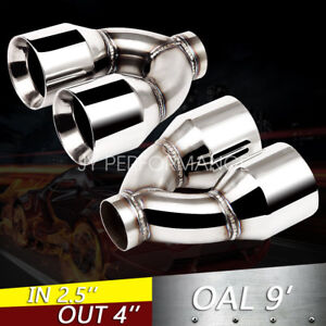 2pc 2 5 Inlet Quad 4 Out 9 Long Dual Wall 304 Stainless Steel Exhaust Tips