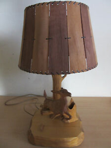 Vintage Carved Wood Deer Lamp Shade Giasson St Roch Des Aulnaies Canada