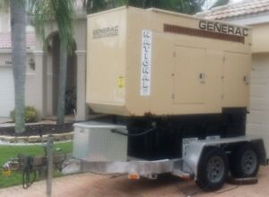 60 Kw Single three Phase Generac Diesel Generator W trailer John Deere Motor