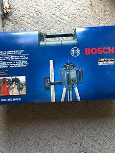 New Bosch 1000 ft Beam Self leveling Rotary Laser Level Tripod Beam Case Rod