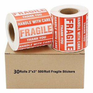 15000 Fragile Sticker 2x3 Handle With Care Shipping Labels Self Adhesive 30 Roll