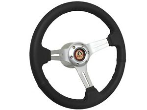 1968 1978 Ford Mustang Cobra S6 Black Leather Steering Wheel Brushed Kit