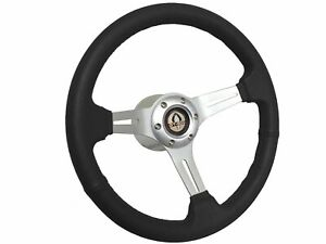 1968 1978 Ford Mustang S6 Black Leather Steering Wheel Brushed Kit Gt500