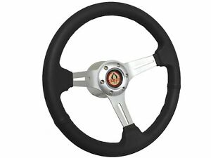 1968 1978 Ford Mustang S6 Black Leather Steering Wheel Brushed Kit Gt350
