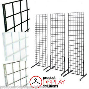 Set Of 3 2 X 4 Grid Gridwall Display Tower With T base Black White Or Chrome