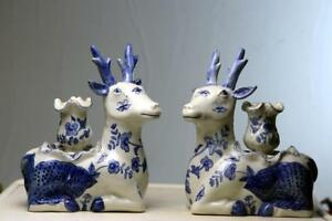 Beautiful Pair Chinese Blue And White Porcelain Deer Candle Sticks
