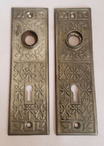 2 Antique Victorian Door Handle Plate Flower Floral Design Silver Metal Key Hole