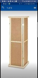 For Sale Pegboard Tower Rotating Display Rack 4 Sided 5 Tall wood