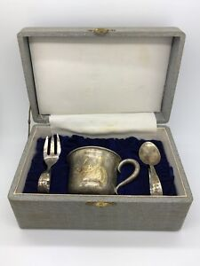 Sterling Silver 950 Baby Cup Fork Spoon Set In Box