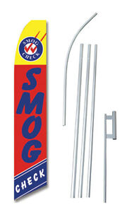 Smog Check Banner Flag Tall Advertising Complete Sign Kit 2 5 Feet Wide