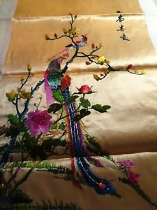Large Fine Antique Chinese Hand Embroidered Silk Embroidery Paradise Birds Panel