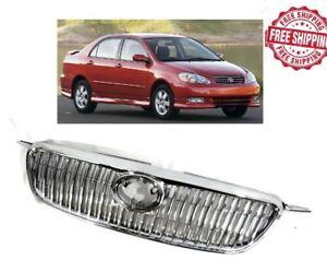 For 2003 2008 Toyota Corolla Grill Front Hood Chrome Grille 2004 2005 2006 2007