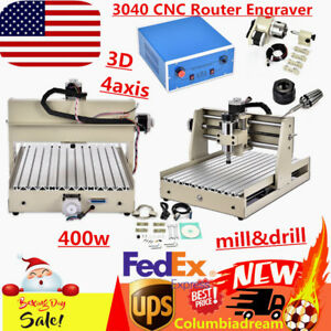 4 Axis 3040 Cnc Router Engraver Engraving Machine Wood Mill drill 400w Engraving