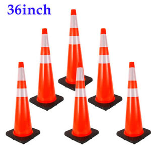6pcs 36 Inch Traffic Cones Heavy Safety Cones Reflective Red With Black Base