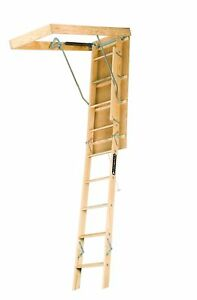 Louisville Ladder S254p 250 pound Duty Rating Wooden Attic Ladder Fits 7 foot