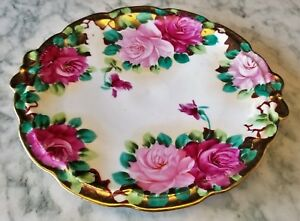Victorian Vividly Hand Painted Roses 10 Round Porcelain Plate