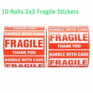 10 Rolls 500 roll Handle With Care Thank You Fragile Stickers 2x3 Shipping Label