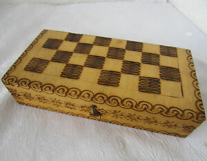 1975 Vintage Ornate Pokerwork Wooden Checkerboard Game Chess Box Figures