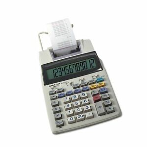 Sharp El 1750v 12 Digit Compact Desktop 2 color Printing Calculator