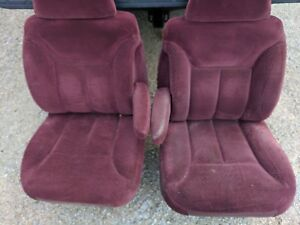 Chevy K1500 Silverado Suburban Tahoe Oem Bucket Seat Set Burgundy Red Rare Power