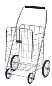 Easy Wheels Collapsible Steel Shopping Cart 150 Lb Weight Capacity Chrome