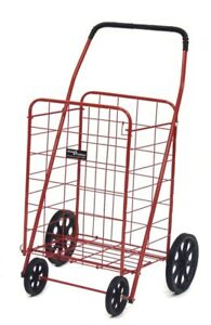 Easy Wheels Collapsible Steel Shopping Cart 125 Lb Weight Capacity Red