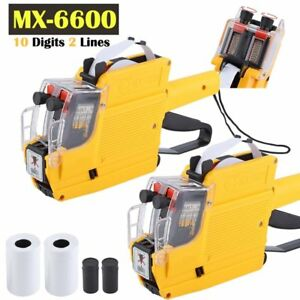 2pcs Mx 6600 10 Digits Price Tag Gun Labeler 1ink 5rolls Labels free Gift As