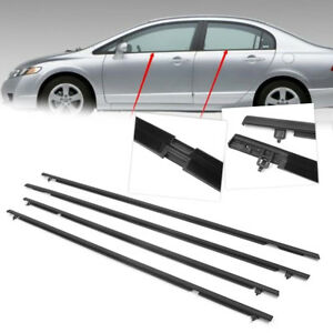 Window Moulding Trim Weatherstrip Seal Belt For Honda Civic 2006 2011 4pcs Auto
