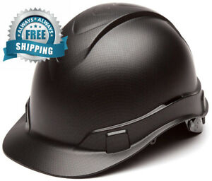 Pyramex Ridgeline Cap Style Hard Hat 4 Point Ratchet Suspension Black