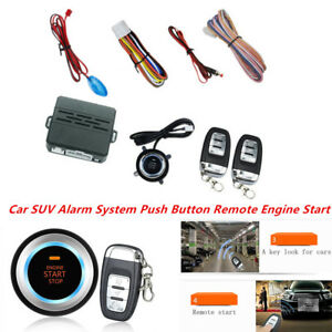 Car Auto Suv Alarm System Push Button Remote Engine Start With Led Sensor Lights