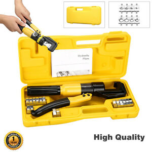 10 Ton Hydraulic Crimper Crimping Tool 8 Dies Wire Battery Cable Lug Carry Case