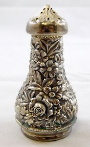 S Kirk And Son Floral Repousse Sterling Silver 925 Salt Shaker Marked 59a 48 G