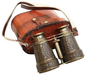 Vintage Engraved Brass Binocular Nautical Maritime With Antique Leather Bag Gift